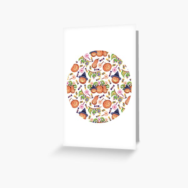 Halloween Party. Cute pattern with pumpkins and sweets. Greeting Card