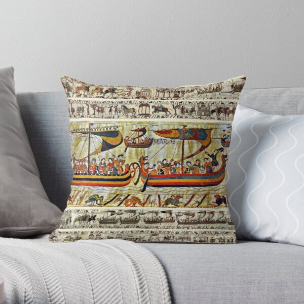 THE BAYEUX TAPESTRY ,VIKING SHIPS Throw Pillow