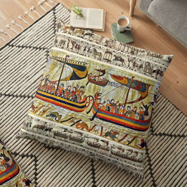 THE BAYEUX TAPESTRY ,VIKING SHIPS Floor Pillow