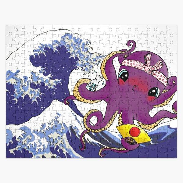 Pulpo Borracho Kawaii en la Gran Ola de Kanagawa de Hokusai Puzzle