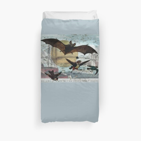 Brooklyn Bridge Art By Currier And Ives And Bat and Birds By G. Hope Tait Duvet Cover