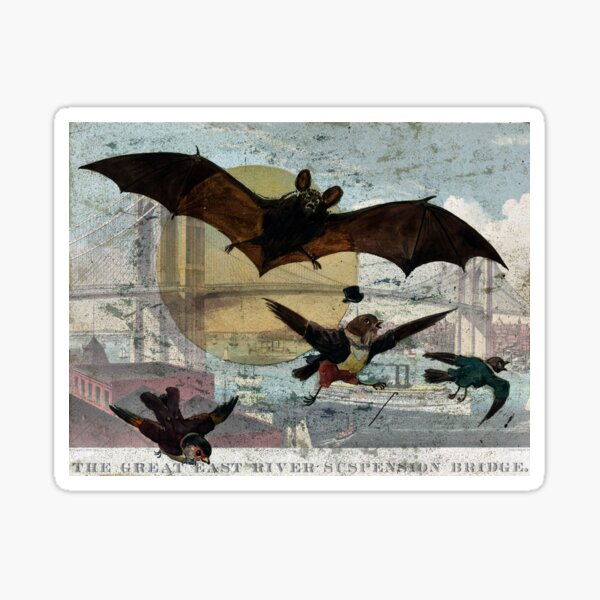 Brooklyn Bridge Art By Currier And Ives And Bat and Birds By G. Hope Tait Sticker