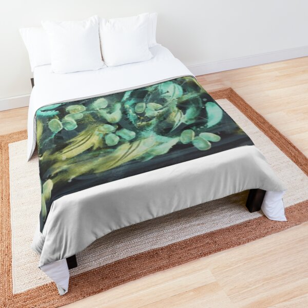 Grape Vine in Turquoise Yellow Green Comforter