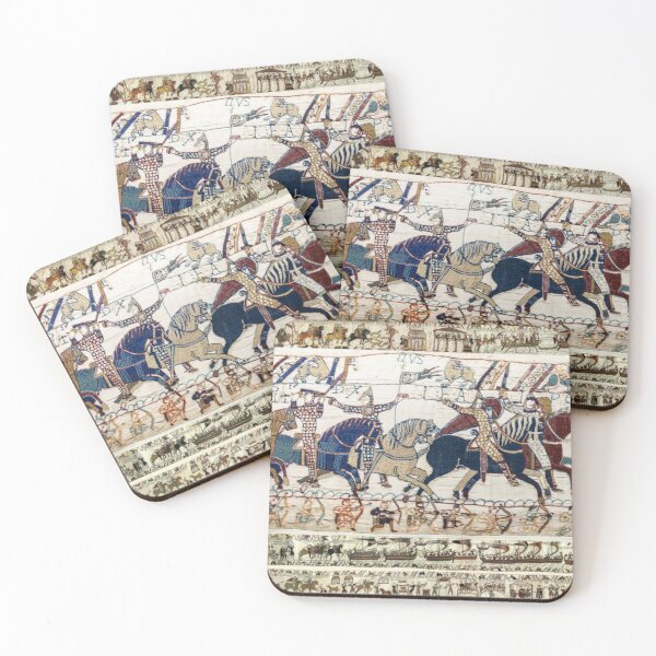 THE BAYEUX TAPESTRY ,BATTLE OF HASTINGS ,NORMAN KNIGHTS HORSEBACK Coasters (Set of 4)