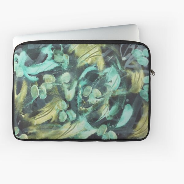 Grape Vine in Turquoise Yellow Green Laptop Sleeve