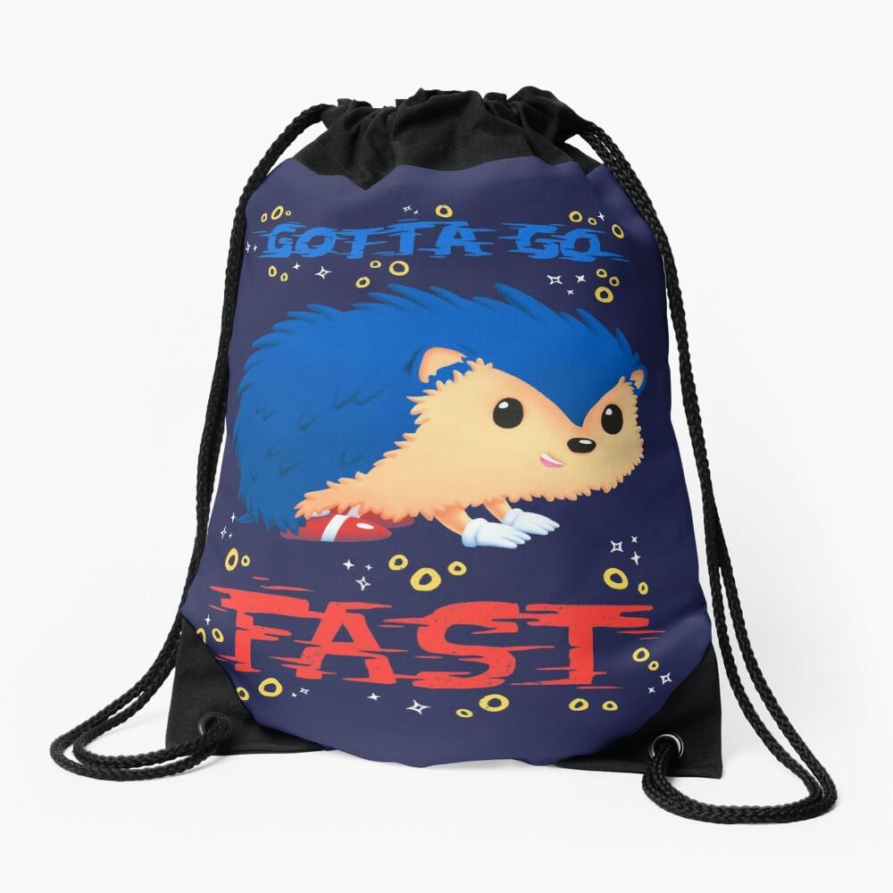 Gotta Go Fast // Cute Hedhehog, Retro Platformer Game, Meme Drawstring Bag