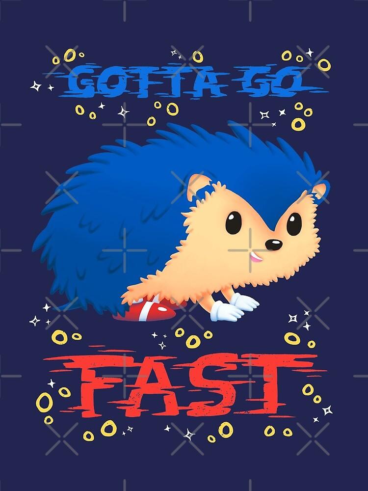 Gotta Go Fast // Cute Hedhehog, Retro Platformer Game, Meme by Geekydog