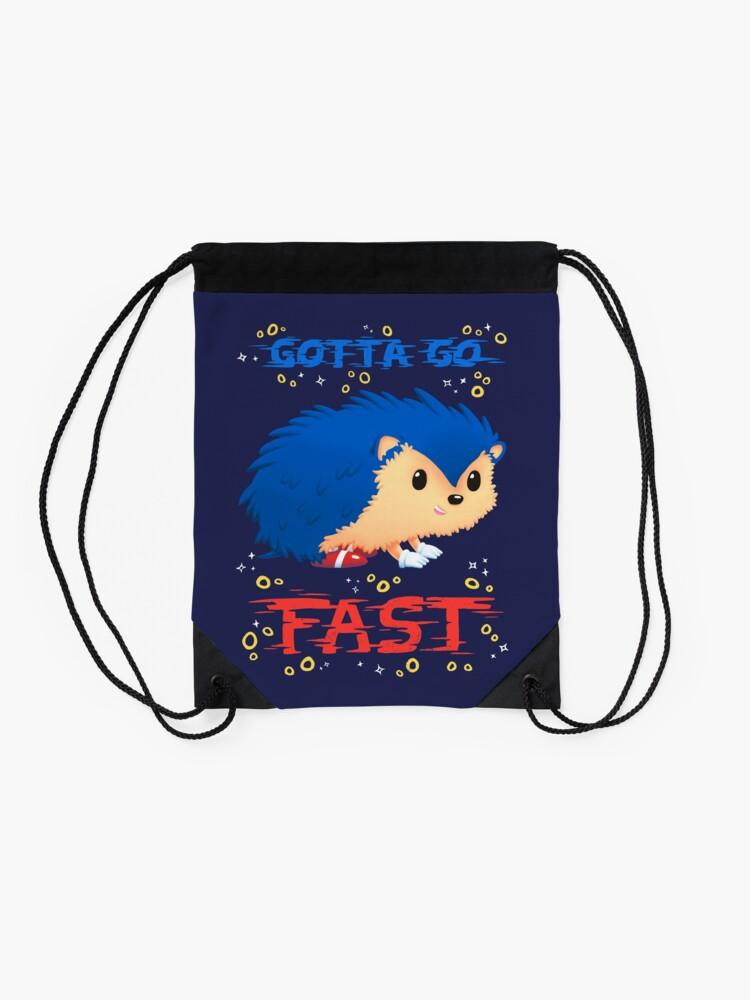 Alternate view of Gotta Go Fast // Cute Hedhehog, Retro Platformer Game, Meme Drawstring Bag