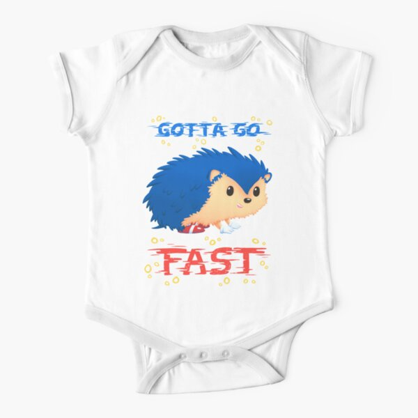 Gotta Go Fast // Cute Hedhehog, Retro Platformer Game, Meme Short Sleeve Baby One-Piece