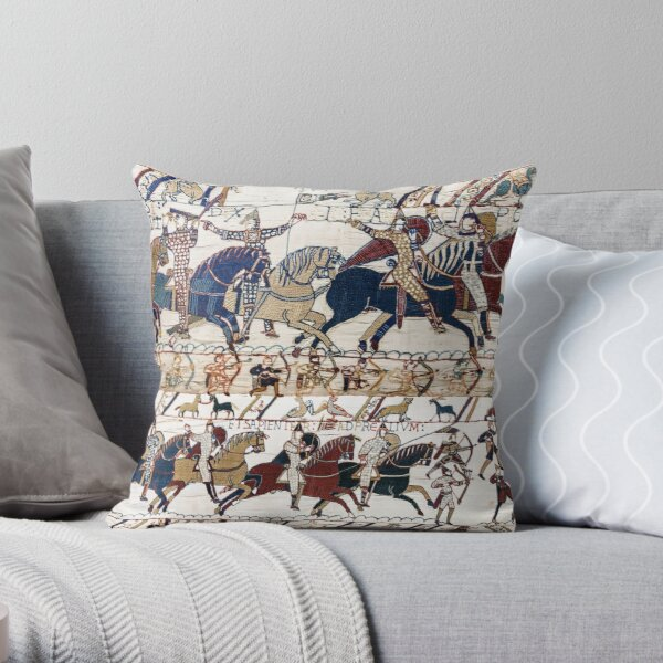 THE BAYEUX TAPESTRY NORMAN KNIGHTS AND ARCHERS Detail Throw Pillow