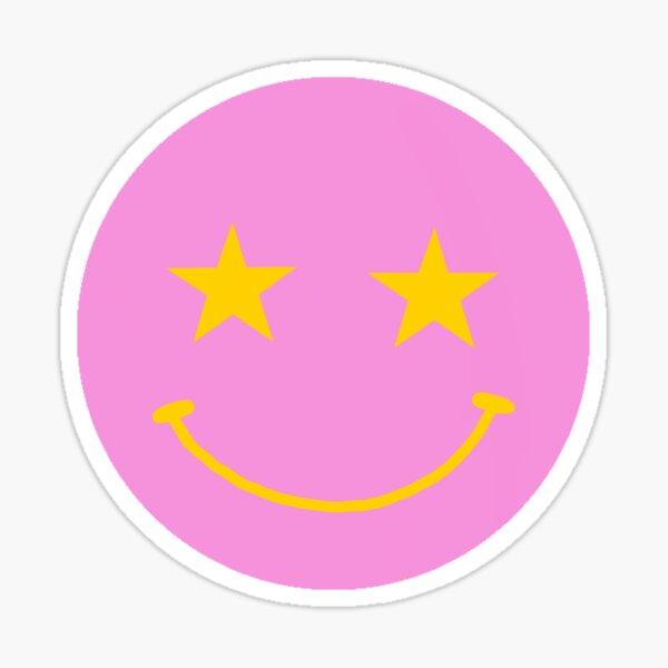 Rosa Lächeln Smiley-Gesicht mit gelben Sternaugen Sticker