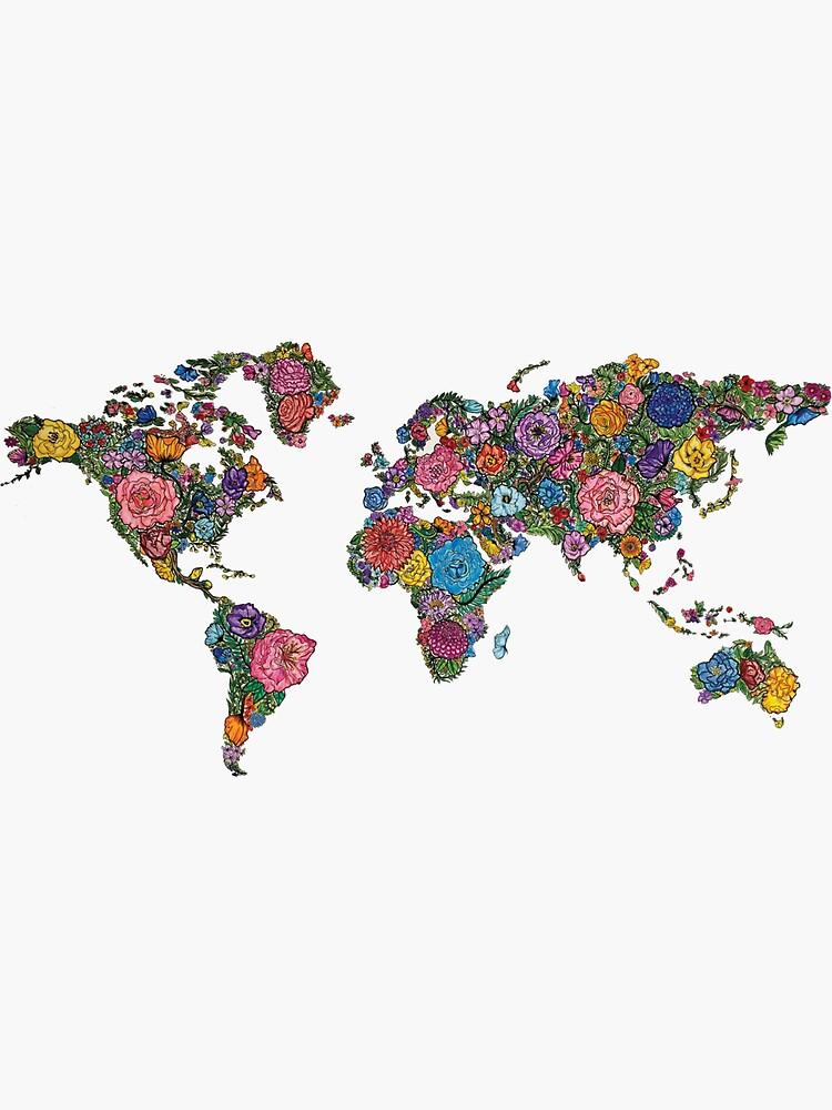 Blumen Weltkarte von juliatziolis