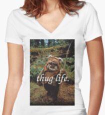 Ewok Thug Life Women's Fitted V-Neck T-Shirt