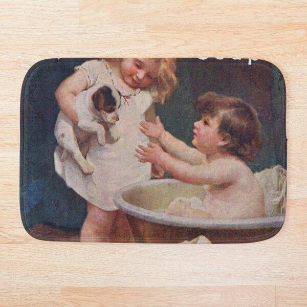 Pears and Soap / Watercolor Design / Vintage Classic Retro Bath Mat