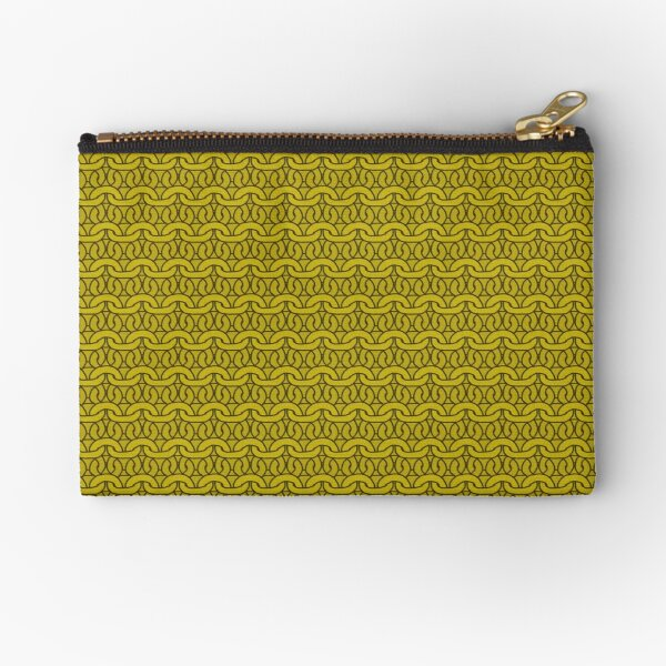 Mustard Garter Stitch Zipper Pouch