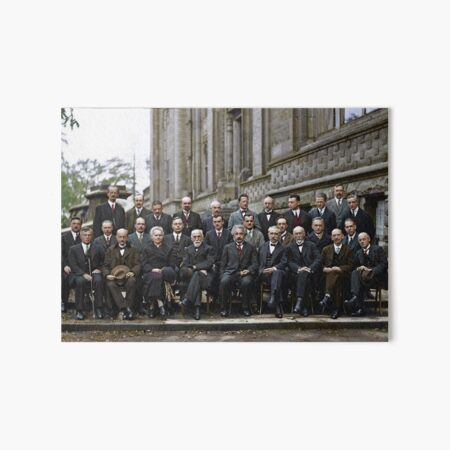 The most intelligent picture ever taken: Participants of the 5th Solvay Conference on Quantum Mechanics, 1927. 17 of the 29 attendees were or became Nobel Prize winners. Art Board Print