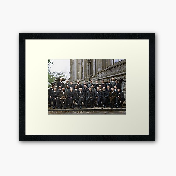 The most intelligent picture ever taken: Participants of the 5th Solvay Conference on Quantum Mechanics, 1927. 17 of the 29 attendees were or became Nobel Prize winners. Framed Art Print