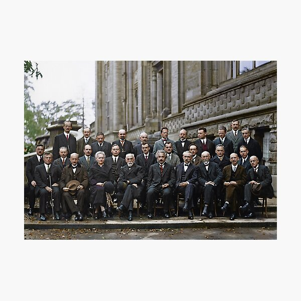 The most intelligent picture ever taken: Participants of the 5th Solvay Conference on Quantum Mechanics, 1927. 17 of the 29 attendees were or became Nobel Prize winners. Photographic Print