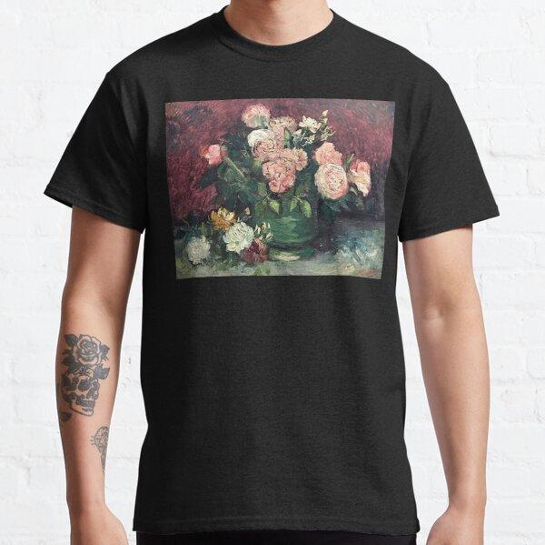 Pink Flowers Painting Van Gogh Post-Impressionist Still Life Vintage Art Classic T-Shirt