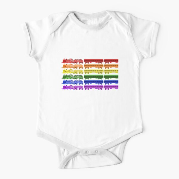 Locomotive Colors - The Kids' Picture Show Short Sleeve Baby One-Piece