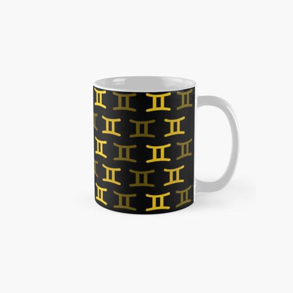 Golden yellow gemini sign, astrology zodiac symbol black background Classic Mug