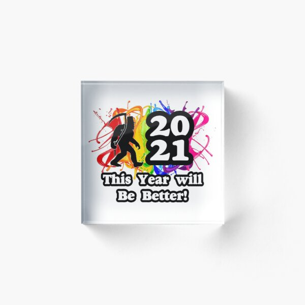 Squatchy  New Year Acrylic Block
