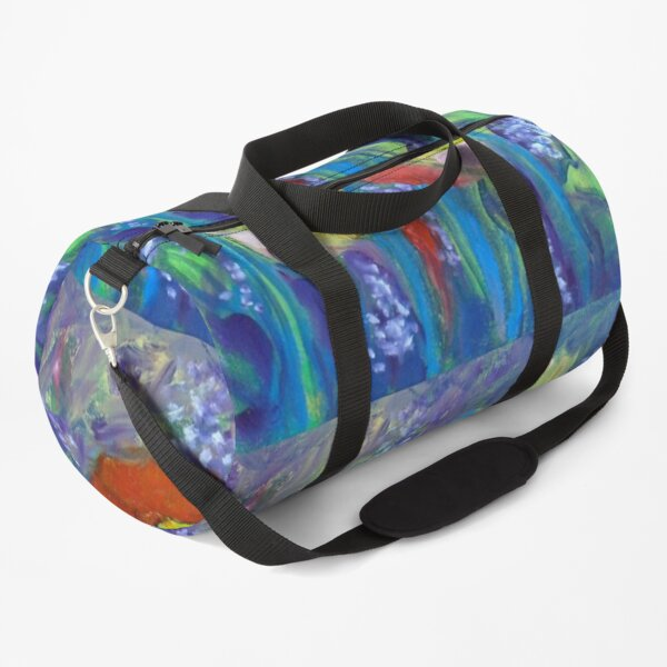 Red Poppies on Blue Duffle Bag