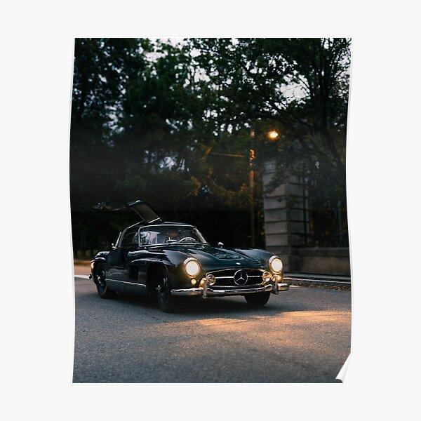 A4 A3 A2 Size Car Silhouette POSTER MERCEDES BENZ 300SL GULLWING
