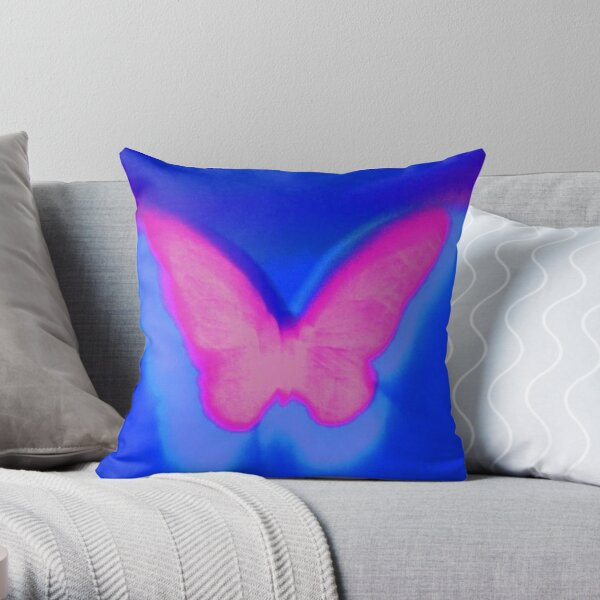 y2k butterfly pink Throw Pillow