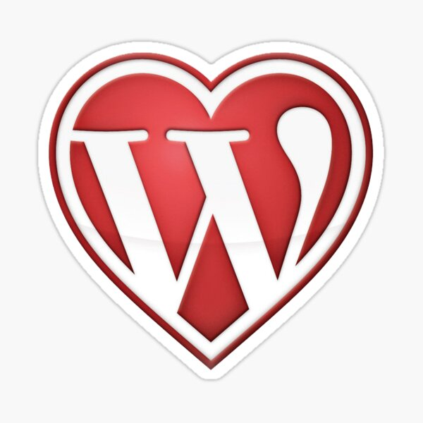 Sticker y Magnet Full Love Wordpress in Red Sticker