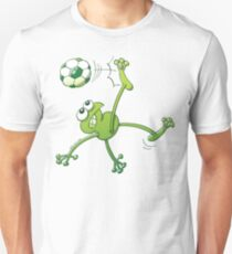 Frog Executing a Bycicle Kick with a Soccer Ball Slim Fit T-Shirt