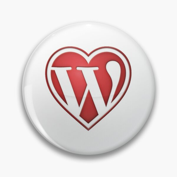 Pin Button with blank background of Love Wordpress in Red Pin