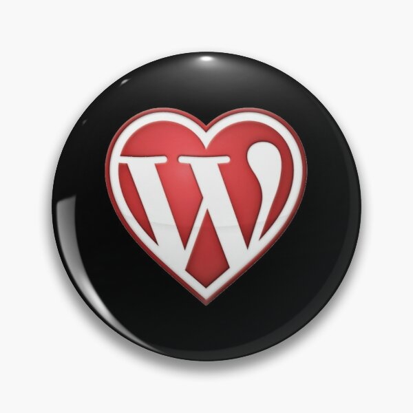 Pin Button with black background of Love Wordpress in Red Pin