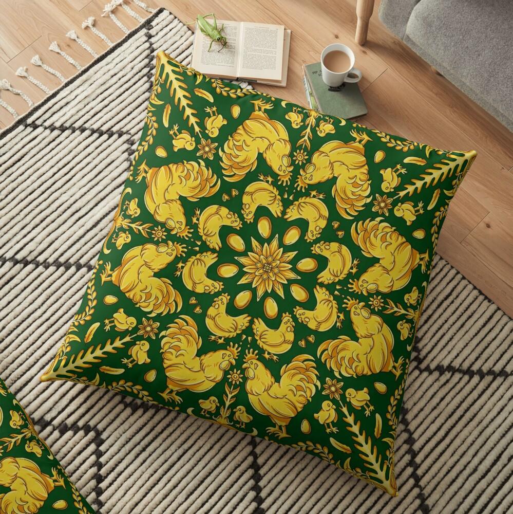 Designer Chicken - Green Floor Pillow