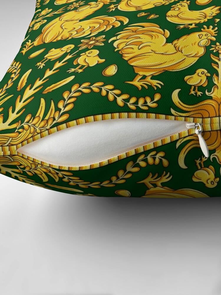 Alternate view of Designer Chicken - Green Floor Pillow