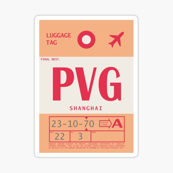 Shanghai Pudong International Airport Vintage Luggage Tag Sticker