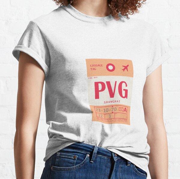 Shanghai Pudong International Airport Vintage Luggage Tag Classic T-Shirt