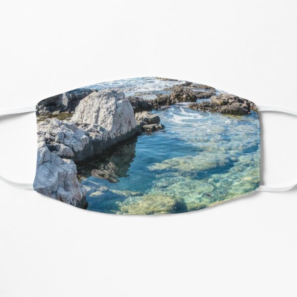ROCKY OCEAN SHORELINE ROCK POOL; STICKERS, T-SHIRTS, MUGS and MORE! Mask