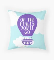 Oh the Places You'll Go - Lavender Hot Air Balloon Throw Pillow