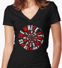 White Stripes Whirlpool Women's Fitted V-Neck T-Shirt