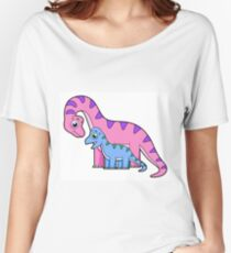 Cute illustration of a mother and child Brachiosaurus. Women's Relaxed Fit T-Shirt