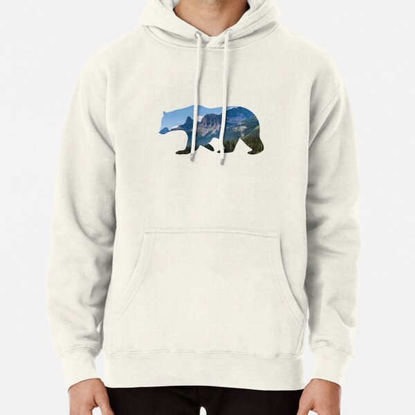 Bear Silhouette with Canada Landscape Pullover Hoodie