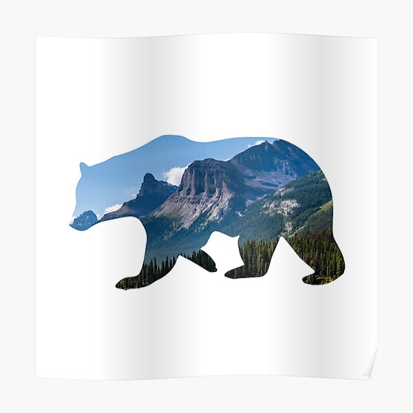 Bear Silhouette with Canada Landscape Poster