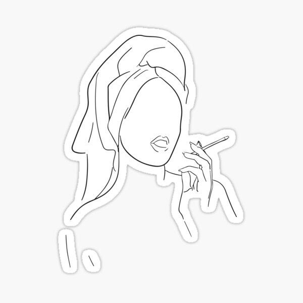 Nude Woman with Towel & Cigarette/weed smoke, Line Art, Single line drawing, modern minimalist Sticker