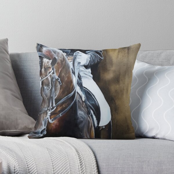 Dressage Horse on Gold Throw Pillow