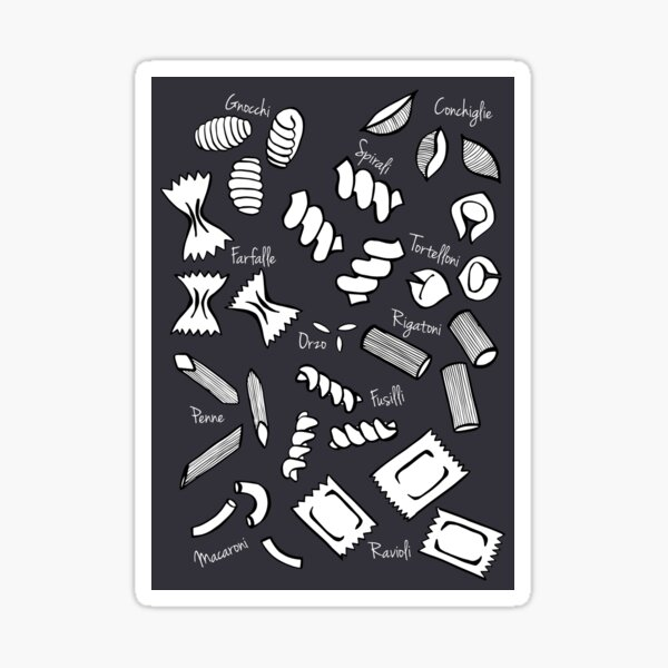 Pasta Chalkboard Print Sticker