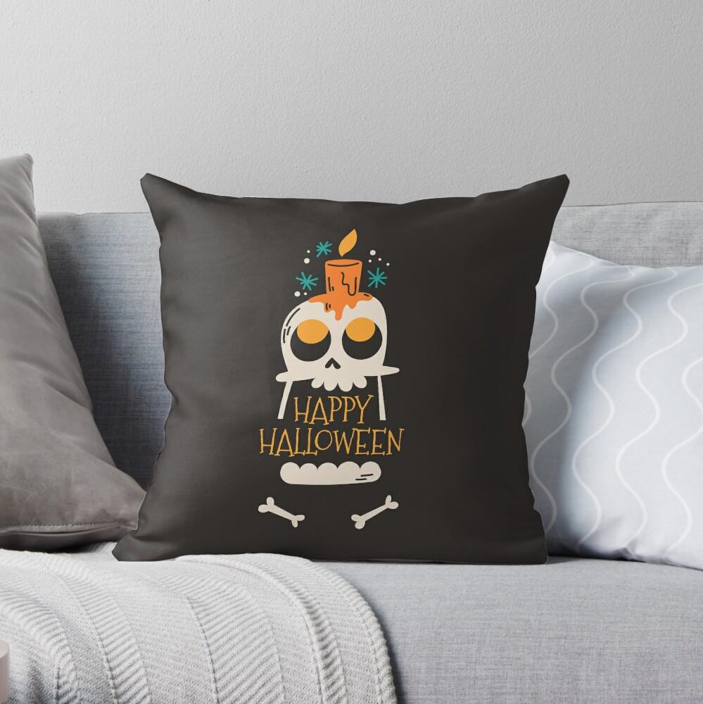 Happy Halloween Skeleton Throw Pillow