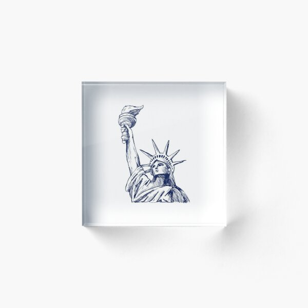 USA Freedom Statue Acrylic Block