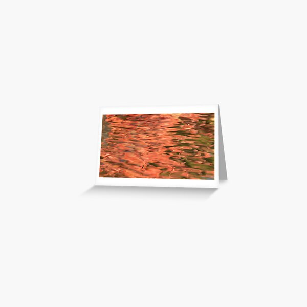 Fall Leaves Reflected on Water Abstract Photograph Greeting Card