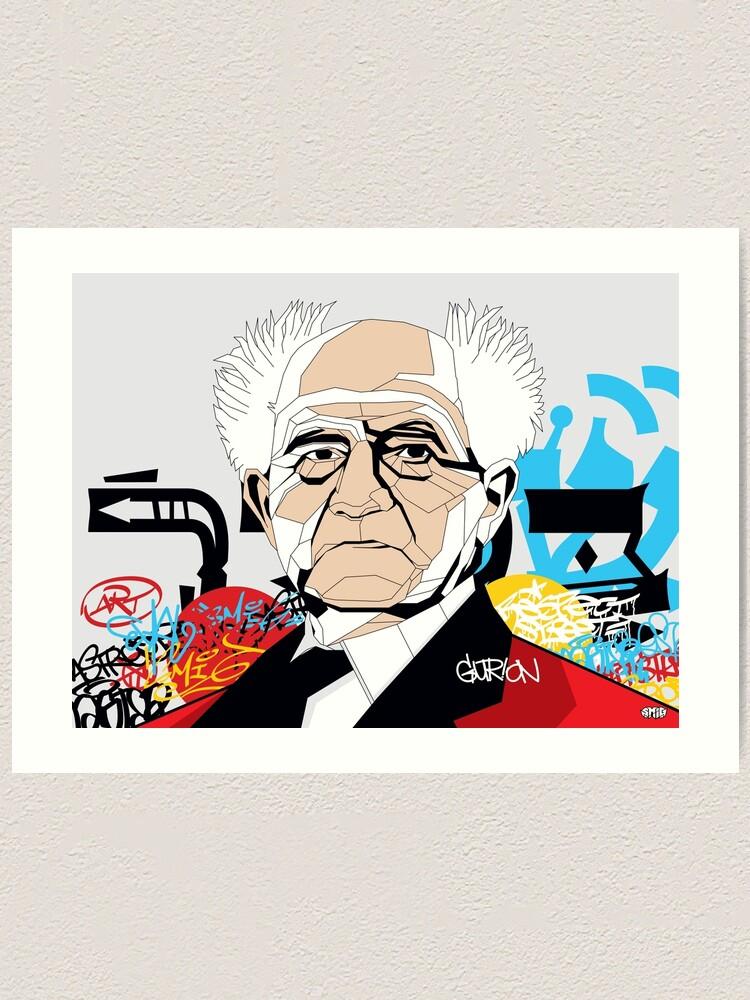 Alternate view of David Ben-Gurion portrait - Pop Art Israeli leader Art Print
